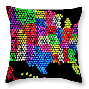 Lite Brited States Of America Throw Pillow by Benjamin Yeager