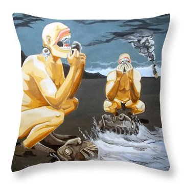 Throw Pillow featuring the painting Lithophagus Listen With Music Of The Description Box by Lazaro Hurtado