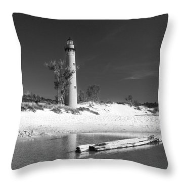Litle Sable Light Station - Film Scan Throw Pillow by Larry Carr