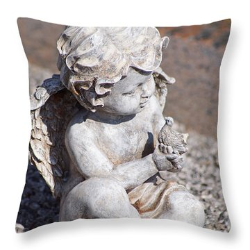 Little Angel With Bird In His Hand - Sculpture Throw Pillow