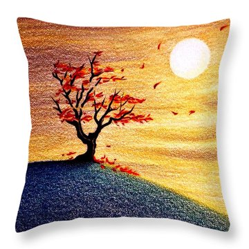Little Autumn Tree Throw Pillow by Danielle R T Haney