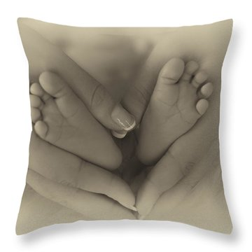 Little Bambino Toes Surrounded By Love Throw Pillow by Thomas Woolworth