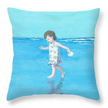 Little Beach Girl Panorama Throw Pillow