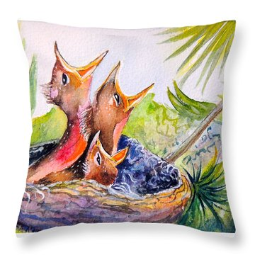 Little Beaks Throw Pillow by Patricia Piffath