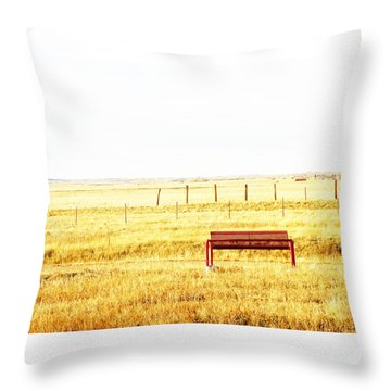 Little Bench On The Prairie Throw Pillow by Lenore Senior