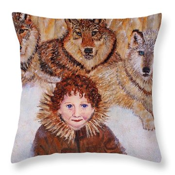 Little Bernard And The Wolves Throw Pillow by The Art With A Heart By Charlotte Phillips