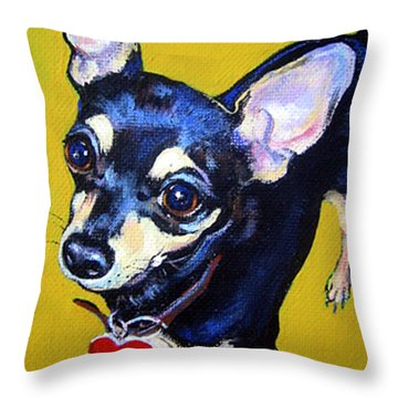 Little Bitty Chihuahua Throw Pillow by Rebecca Korpita