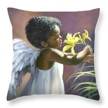 Little Black Angel Throw Pillow