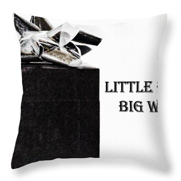 Throw Pillow featuring the photograph Black Present With A Silver Bow by Vizual Studio