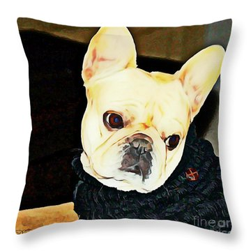 Throw Pillow featuring the painting Little Black Sweater by Barbara Chichester