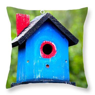Little Blue Birdhouse Throw Pillow by Karon Melillo DeVega
