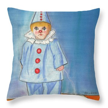 Little Blue Clown Throw Pillow by Arlene Crafton