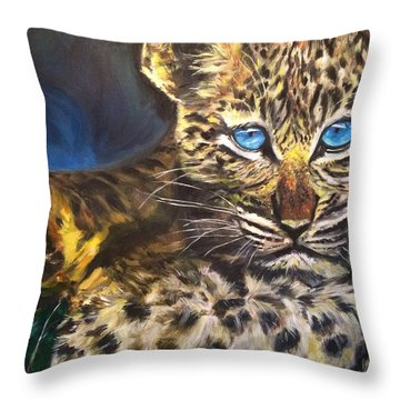 Little Blue Eyes Throw Pillow