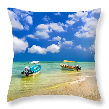 Throw Pillow featuring the photograph Little Boats On The Yucatan Coast by Mark E Tisdale