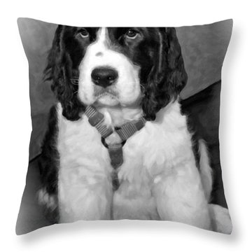 Little Boy Blue Oil Bw Throw Pillow by Steve Harrington