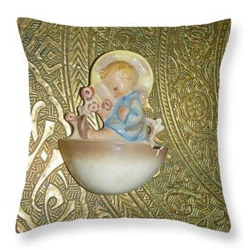 Newborn Boy In The Baptismal Font Sculpture Throw Pillow