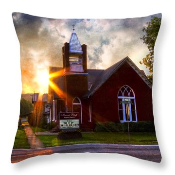 Little Brick Chapel Throw Pillow by Debra and Dave Vanderlaan