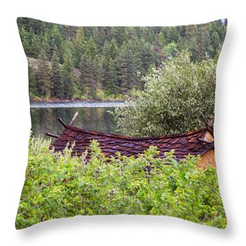 Little Cabin On A Lake Throw Pillow by Omaste Witkowski