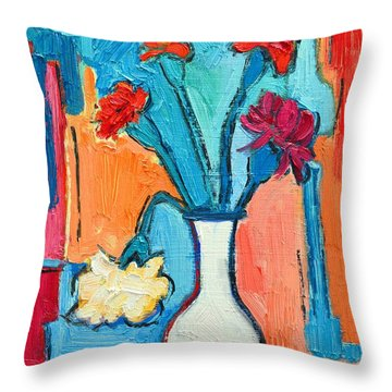 Little Carnations China Pink Flowers Throw Pillow by Ana Maria Edulescu