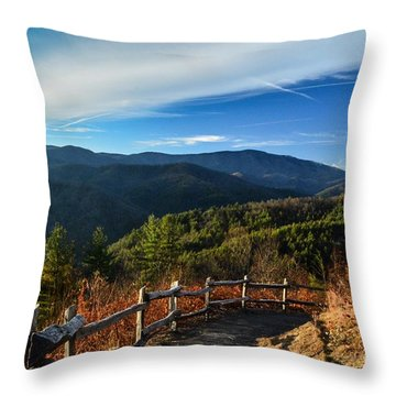 Throw Pillow featuring the photograph Little Cataloochee Overlook In Summer by Debbie Green