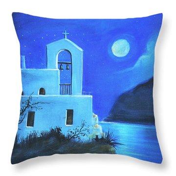 Little Church By The Sea Throw Pillow