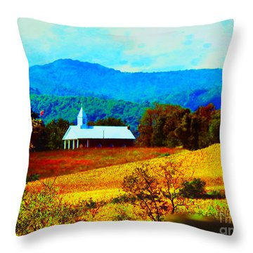 Little Church In The Mountains Of Wv Throw Pillow