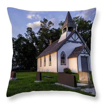 Little Church On The Prairie Throw Pillow