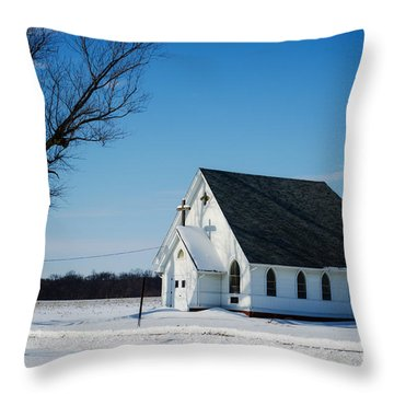 Little Church On The Prairie Throw Pillow by Luther Fine Art