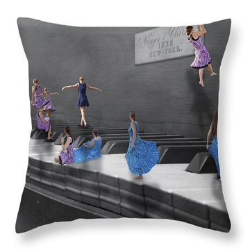 Little Composers I Throw Pillow by Betsy Knapp