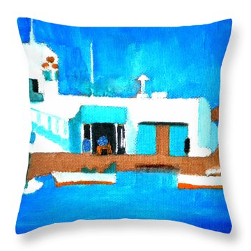 Paros  Cute Spot On Greek Island Throw Pillow
