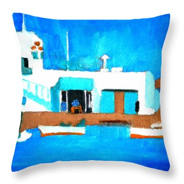 Paros  Cute Spot On Greek Island Throw Pillow by Colette V Hera  Guggenheim