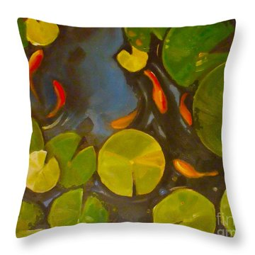 Little Fish Koi Goldfish Pond Throw Pillow by Mary Hubley