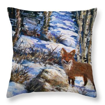 Throw Pillow featuring the painting Little Fox by Megan Walsh