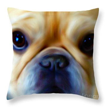 Little Frenchie Face Throw Pillow by Barbara Chichester