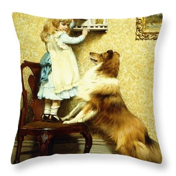 Little Girl And Her Sheltie Throw Pillow
