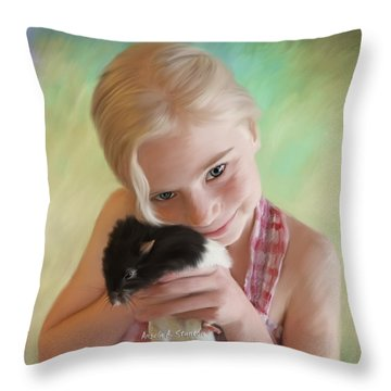 Little Girl And Pet Rat Throw Pillow by Angela A Stanton
