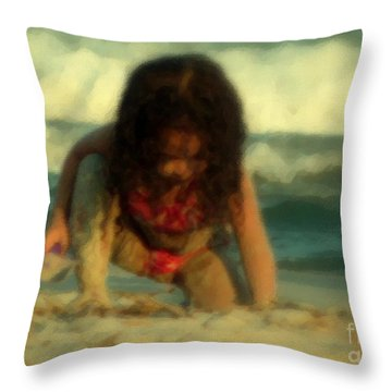 Throw Pillow featuring the photograph Little Girl At The Beach by Lydia Holly