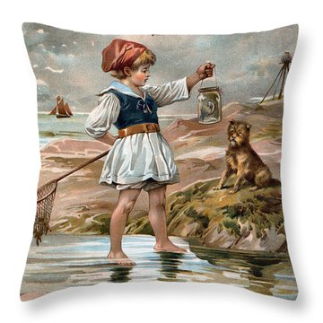Little Girl At The Beach Throw Pillow by Unknown
