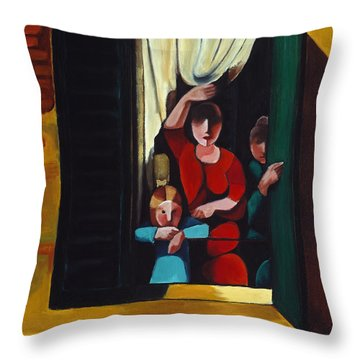 Little Girl At Window Throw Pillow by William Cain