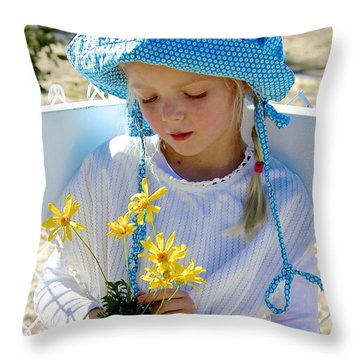 Little Girl Blue  Throw Pillow
