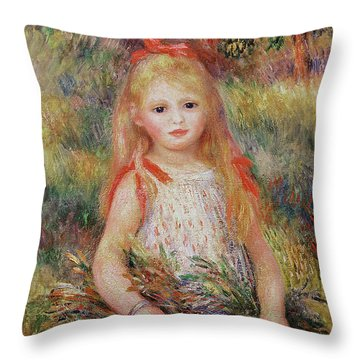 Little Girl Carrying Flowers Throw Pillow by Pierre Auguste Renoir