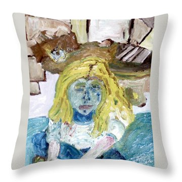 Little Girl Drawing Throw Pillow