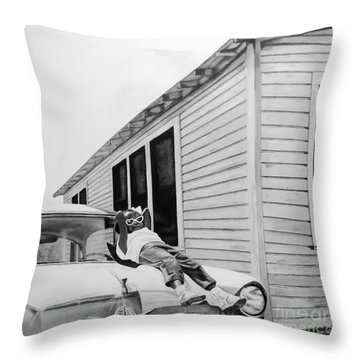 Little Girl Enjoying The Sun Throw Pillow
