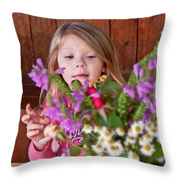 Little Girl Flower Arranging Throw Pillow