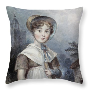 Little Girl In A Quaker Costume Throw Pillow by Isaac Pocock