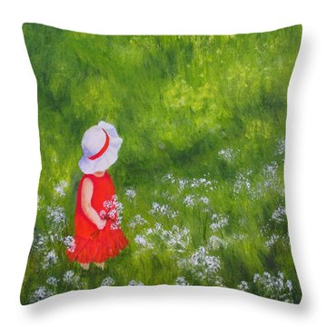 Girl In Meadow Throw Pillow