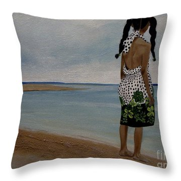 Little Girl On The Beach Throw Pillow