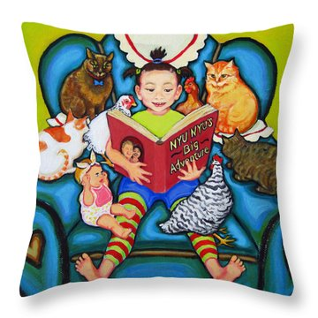 Little Girl Reading To Doll Cats Chickens Throw Pillow by Rebecca Korpita