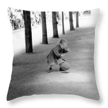Little Girl With Ball Paris Throw Pillow