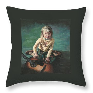Little Girl With Guitar Throw Pillow by Joy Nichols